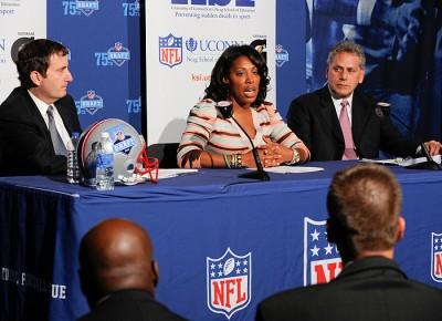 From left, Gary Gertzog, senior VP of business affairs for the NFL, Kelci Stringer, KSI founder and widow of Korey Stringer, and James Gould, Stringer's former NFL agent.