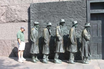 Alan Marcus joins the bread line at the FDR Memorial in Washington, D.C., where he was working with 40 social studies teachers from Connecticut studying the Great Depression in July 2010.
