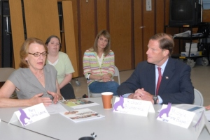 Senator Blumenthal listens to CEA Policy Director Mary Loftus Levine at a CommPACT roundtable in Waterbury. Source: CEA
