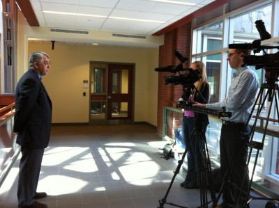 Dr. James O'Neil being interviewed by UConn Today.