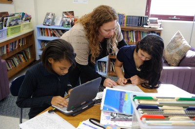 Sixth-graders work on writing projects