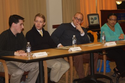 Panelists for the HESA alumni event share their experiences. Pictured (L-r) Adam Frank ('09), Patrick Duffy ('09), Billy Dunn ('08) and Rachel Jones ('10).