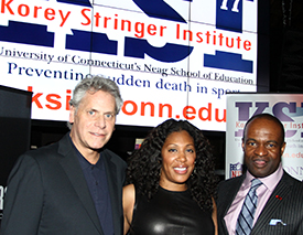 From left, James Gould, director, KSI Board of  Advisors; Kelci Stringer; and DeMaurice Smith, executive director, NFL Players Association.