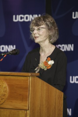 Kathleen Reardon gives her acceptance speech during the UConn Alumni Awards ceremony.