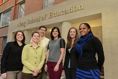 Education faculty members, from left, Bianca Montrosse-Moorehead, Jennifer Freeman, Shaun Dougherty, Jennie Weiner, Hannah Dostal, and Tamika La Salle. (Peter Morenus/UConn Photo)