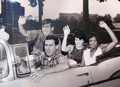 Stan Shaw, in the front passenger seat, along with other college students en route to Washington, DC in 1963.