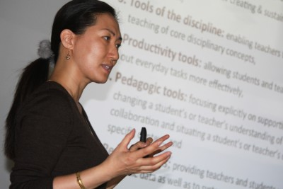Jae-Eun Joo conducts an instructional session on iPads for the Coventry School District.