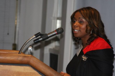 Santosha Oliver, assistant principal at Robert J. O'Brien STEM Academy in East Hartford, shared her story at the Diversity Dinner.