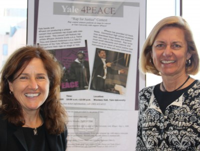 Felice Duffy '82 (CLAS), '86 ED, '91 Ph.D. (left) and Laura Hyer, former director of the Stop Handgun Violence Org in Boston, at the Yale 4PEACE Rap for Justice.