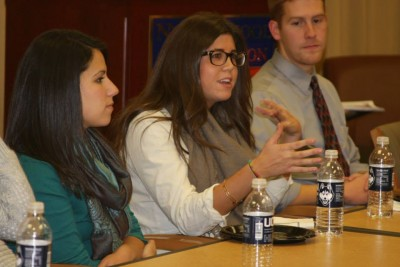 Kelly Soule (pictured in the middle) provided insight for the current students. Also pictured are Arianna Aquilinoa and Jeffrey Russell.