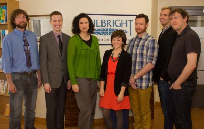 Robin Grenier, in green, gathered with her fellow Fulbright grantees.