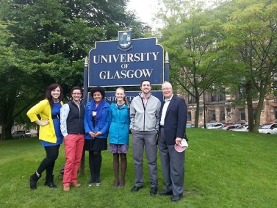 HESA students gathered with UConn Provost Emeritus Peter Nicholls at the University of Glasgow.