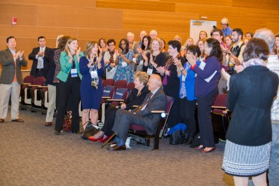 Guests at the Neag Neag Investiture and Medals Ceremony thank Ray and Carole Neag for their generous support.
