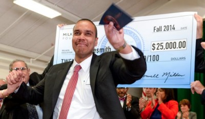 Desi Nesmith reacts to being recognized with the Milken Award. Photo credit: Milken Family Foundation