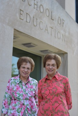 Elaine and Eleanor Demarjian visit UConn for the first time in 50 years this past fall.