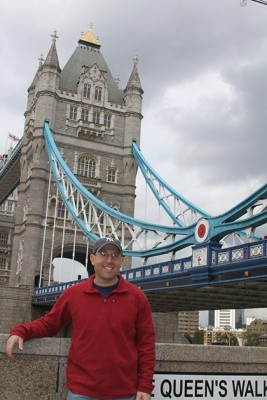 Alan Marcus, associate professor of curriculum and instruction, visits London Bridge. Marcus takes UConn education students to Europe to learn more about the global community.