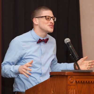 Among the many roles Justis Lopez has had on the UConn campus, he has given spoken word performances during the Neag Alumni Society Awards Dinner two years in a row.
