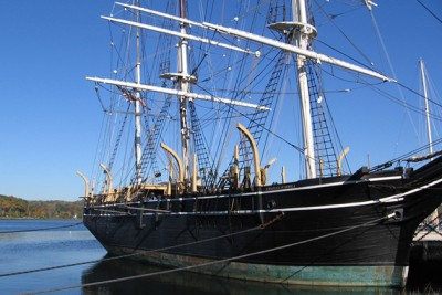 A tall ship docked at Connecticut's Mystic Seaport. The new social studies frameworks emphasize local community and culture, and 'spiral out' to the global context. (Alan Marcus/UConn Photo)