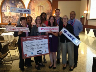 Team Connecticut, including Neag faculty and students, along with other school counselors, attending the school counselor summit meeting at San Diego State University.