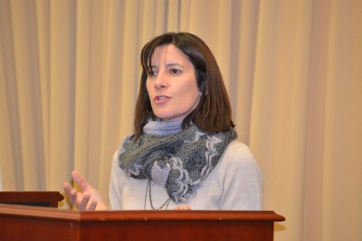 CLAS associate professor of mathematics and project co-principal investigator Fabiana Cardetti gives welcome remarks during event for Michael Byram. (Photo caption: Shawn Kornegay)
