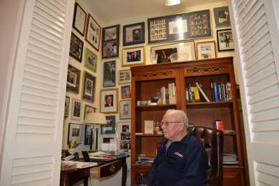 Former UConn President and School of Education Dean Harry Hartley at his home in Palm Beach, Fla., on April 8, 2015. This year, the Neag School announces that Hartley and his wife, Dianne, have made a planned gift in support of undergraduate and graduate students in the Neag School of Education in the amount of $250,000, as part of the University's Scholarship Initiative.