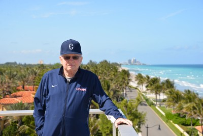 Former UConn President and School of Education Dean Harry Hartley at his home in Palm Beach, Fla.